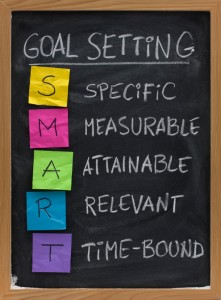 SMART (Specific, Measurable, Attainable, Relevant, Time-bound) goal setting concept presented on blackboard with colorful crumpled sticky notes and white chalk handwriting